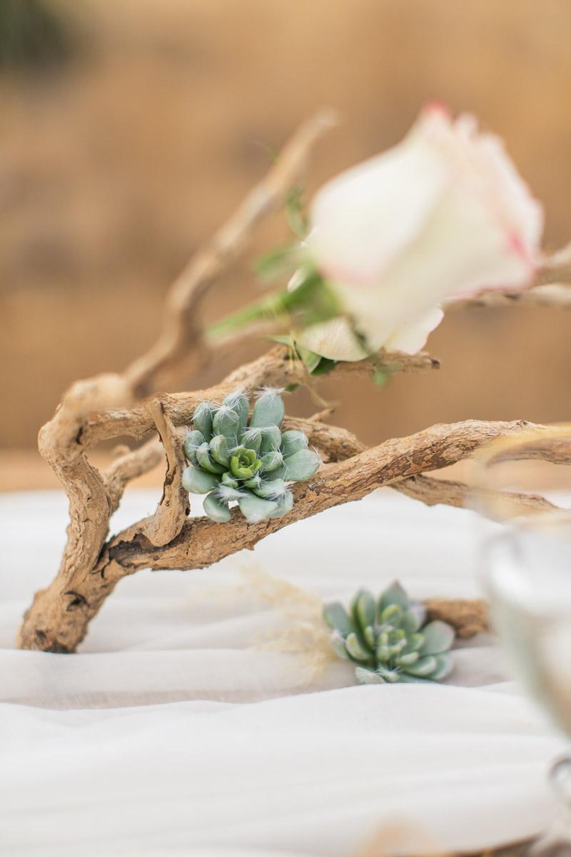 Tischdeko mit Sukkulenten und Treibholz mit Rosen