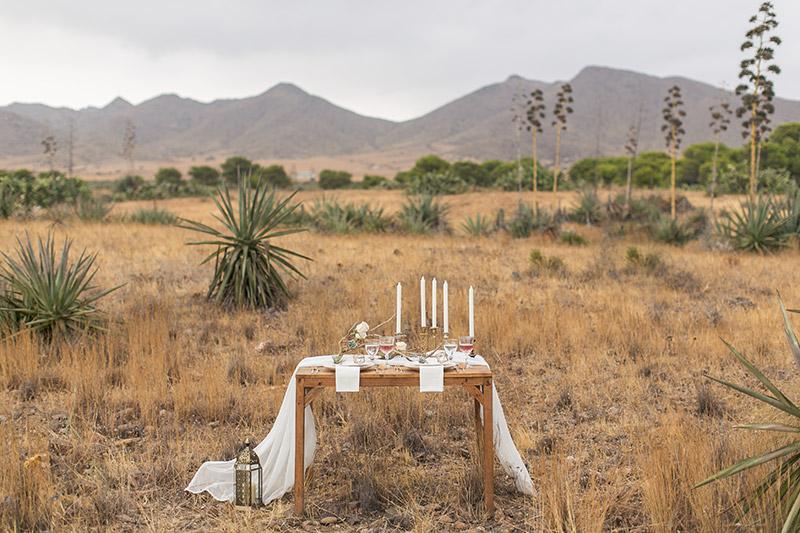 Desert Wedding Tischdeko mit Airplants und goldenen geometrischen Figuren und Treibholz. Hochzeit in Andalusien