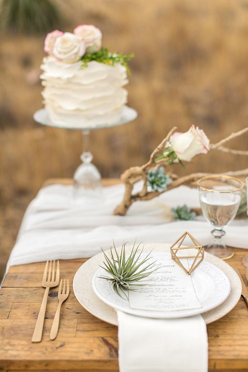 Desert Wedding Tischdeko mit Airplants und goldenen geometrischen Figuren und Treibholz