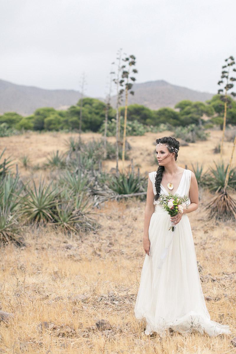Brautkleid Otaduy, fliessend. Hochzeit in Andalusien, Desert Wedding Idee