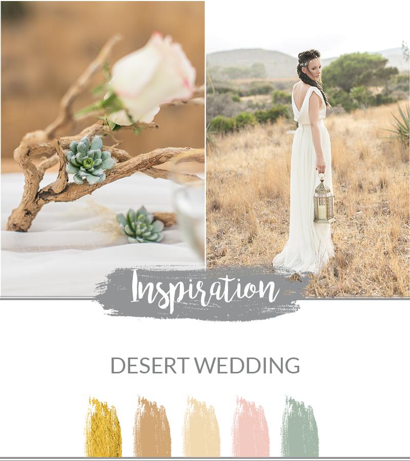 Desert Wedding Moodboard Farbpalette Ideen für die Hochzeitsdeko