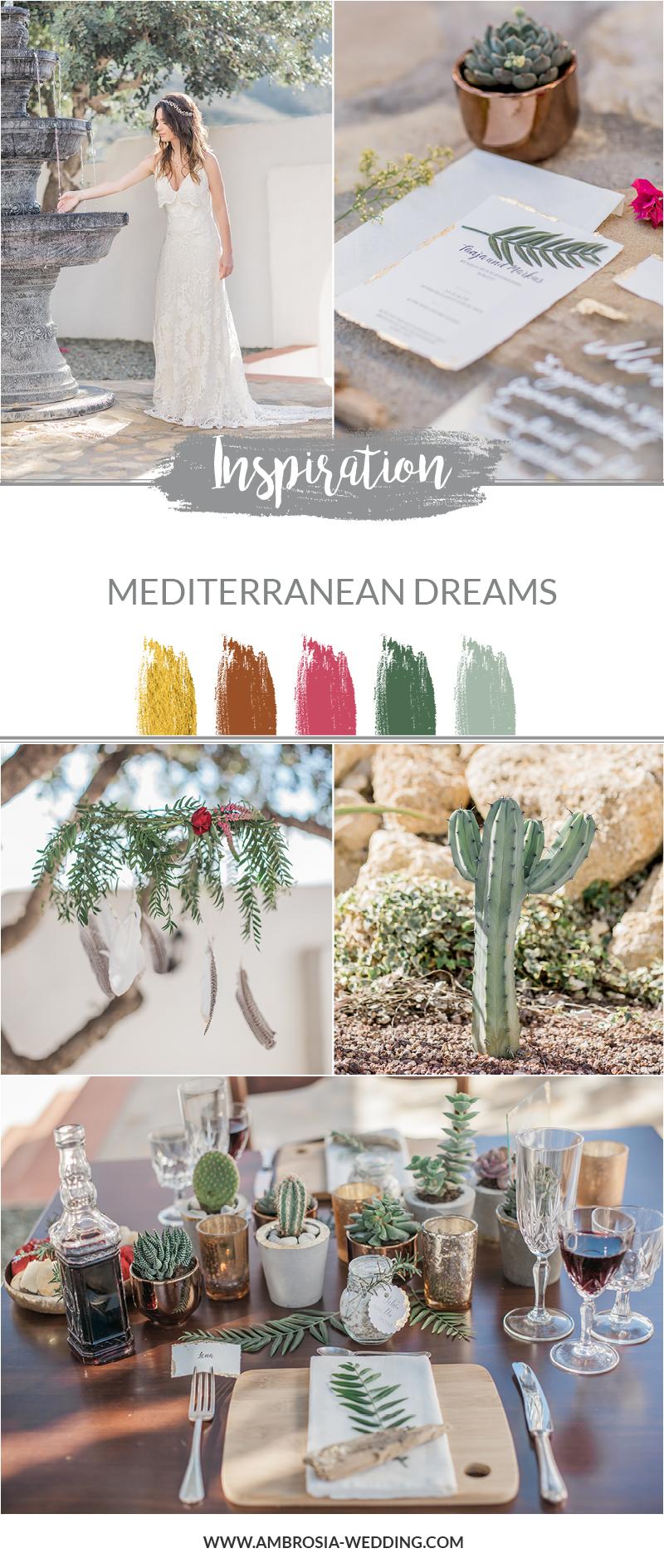 Mediterrane Hochzeit Idee, Farbpalette Grün, Gold und Kupfer mit Sukkulenten und Kakteen.