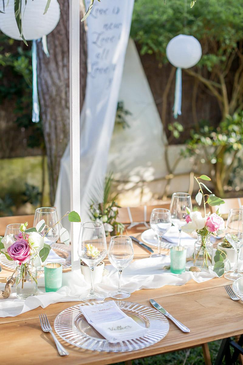 Tischdekoration Sommerhochzeit, Gartenhochzeit, Greenary Wedding Deko