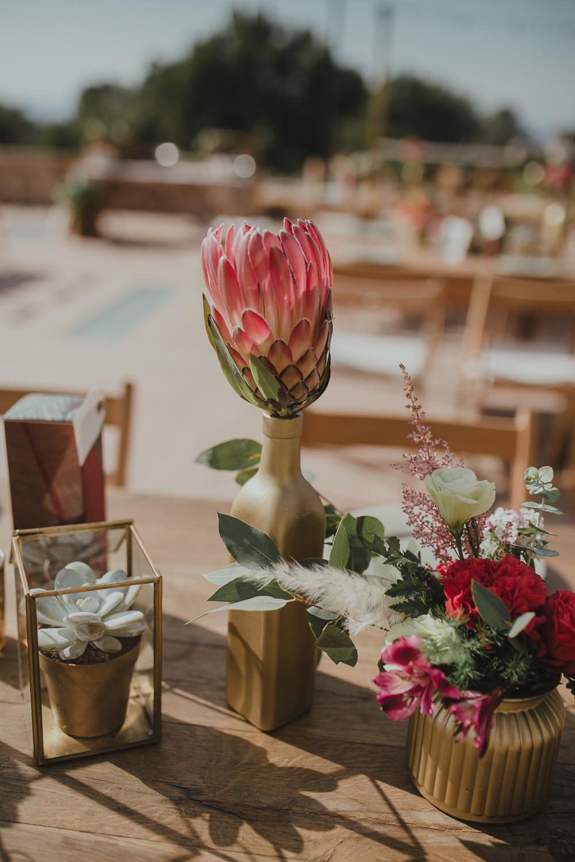 Festival boho Hochzeit, Boho Wedding Tischdeko mit Protea