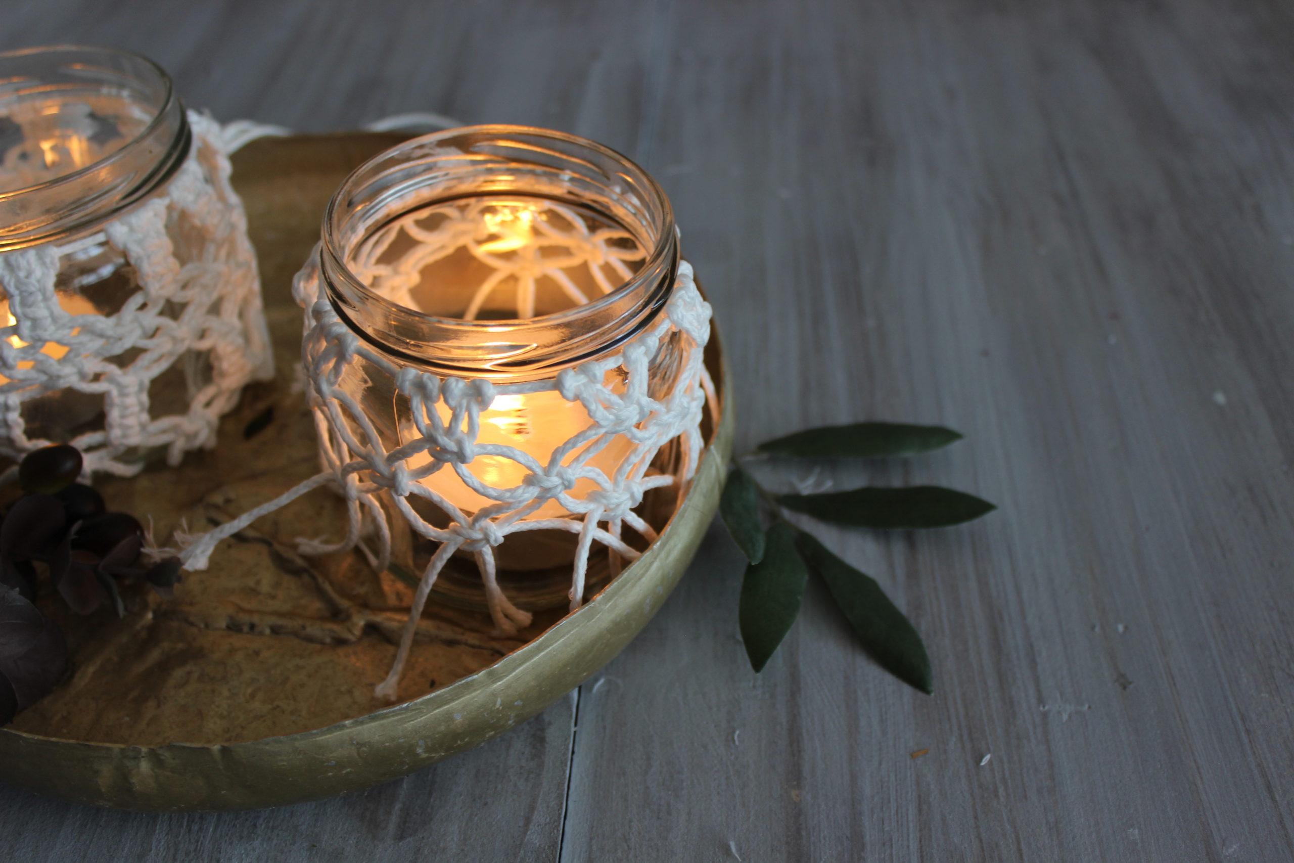 Einfache Macrame DIY Deko – Windlichter
