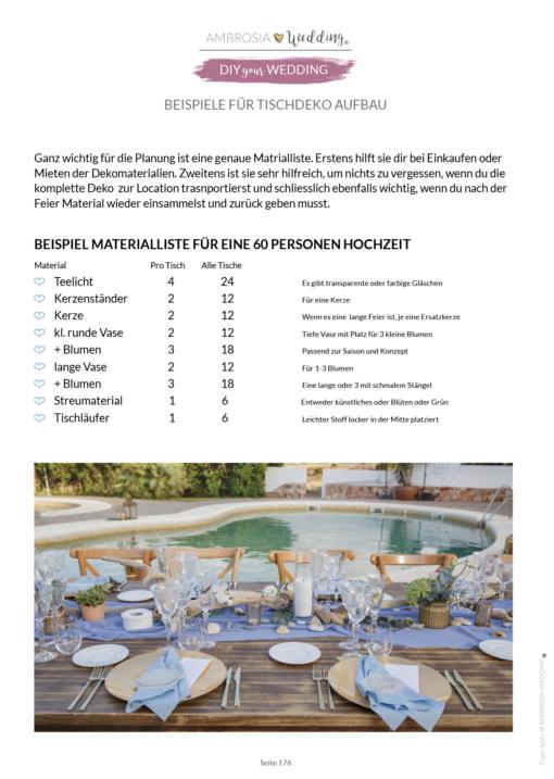 Checkliste Hochzeit -Dekorationsplanung
