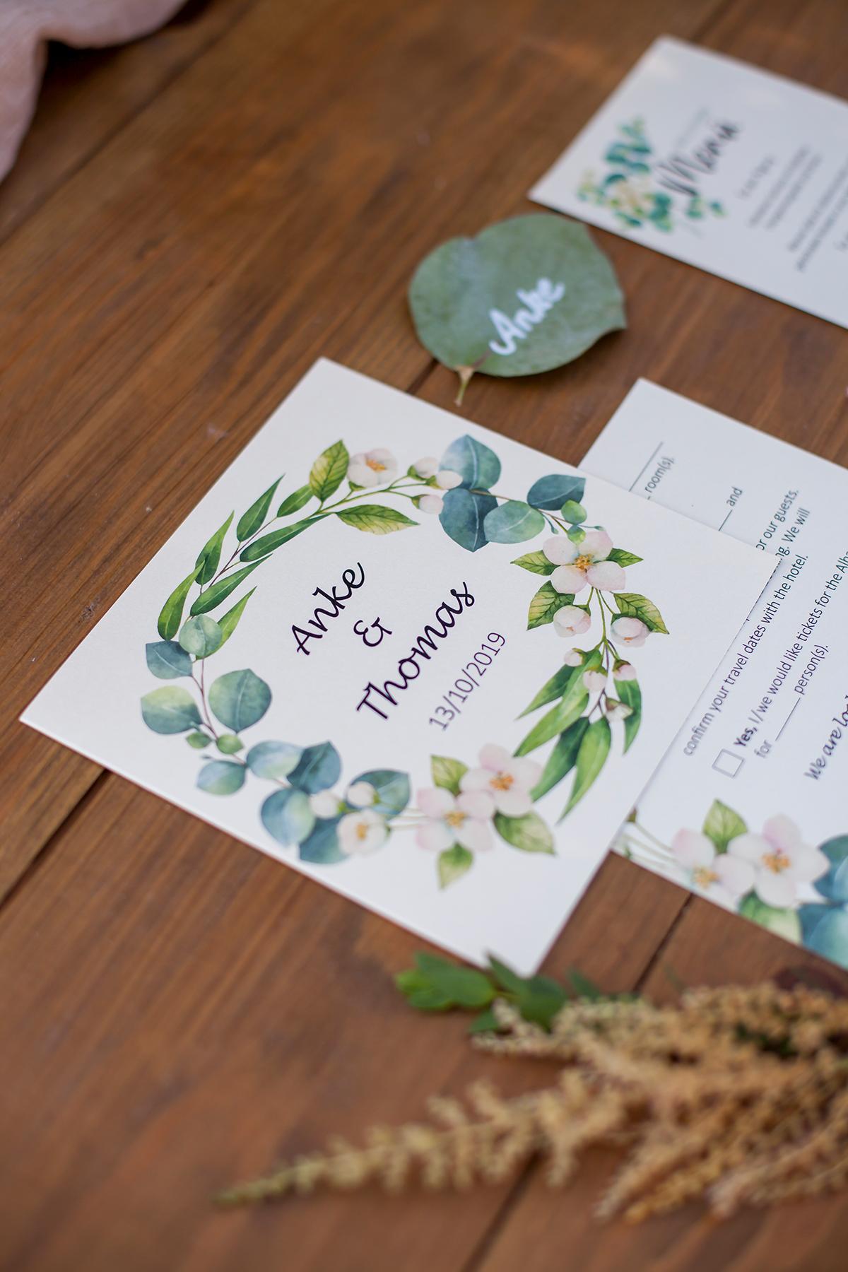 Hochzeit Einladungskarte, Save-the-Date Karte, Blumenkranz