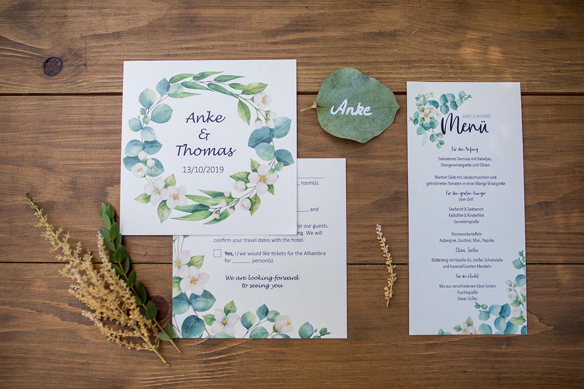 Hochzeit Einladungskarte, Save-the-Date Karte, Hochzeitsmenü
