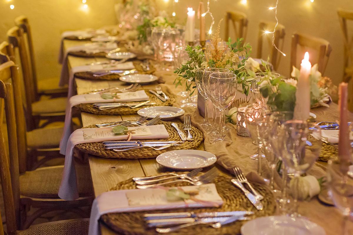 Hochzeitslocation Tischdekoration